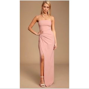 Lulu's blush strapless maxi dress